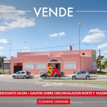 VENDE: EXCELENTE SALON + GALPON SOBRE CIRCUNVALACION NORTE Y FAZZINI